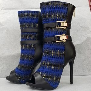 """Knit mid calf 5"""" high heel ankle boots new"""